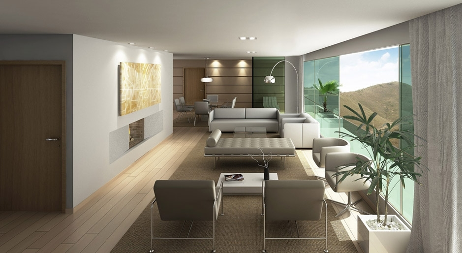 Perspectiva ilustrada do Living - Apartamento Linear