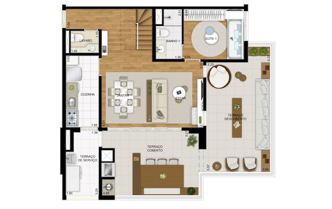 Duplex 147m² - 2 dorm - inferior - final 1 e 2