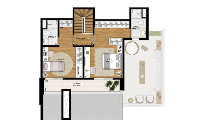 Duplex 147m² - 2 dorm - superior - final 1 e 2
