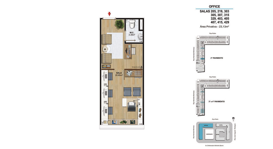 OFFICE Salas 205, 219, 303, 305, 307, 315, 329, 403, 405, 407, 415 e 429 - 23,13m²