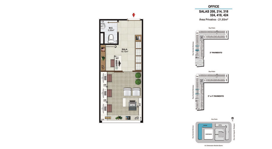 OFFICE Salas 208, 214, 318, 324, 418 e 424 - 21,93m²