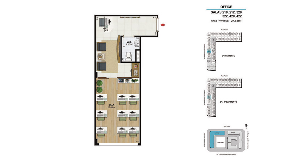 OFFICE Salas 210, 212, 320, 322, 420 e 422 - 27,61m²