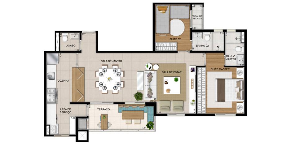 Sala De Tv Planta Baixa ~ Planta 2 Suítes com Sala ampliada  91,40m²
